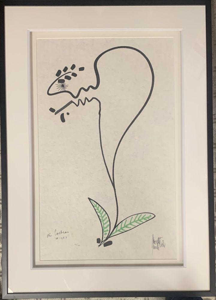 Lithographie Cocteau - La fleur
