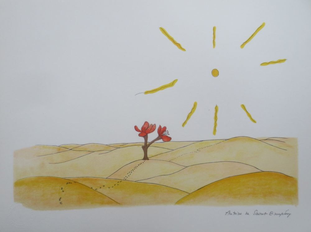 Lithographie Saint-Exupéry - La fleur dans le désert