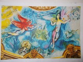 lithographie de marc chagall la flute enchant e sur amorosart. Black Bedroom Furniture Sets. Home Design Ideas