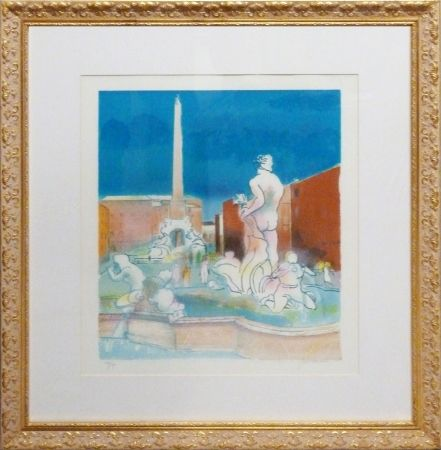 Lithographie Guiramand - La Fontana