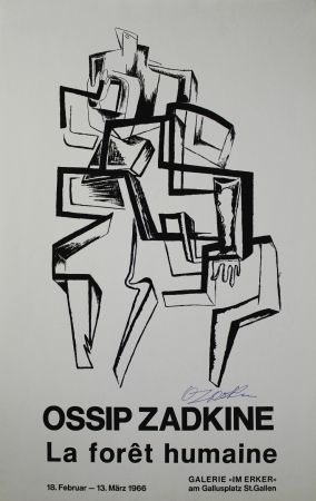 Lithographie Zadkine - La forêt humaine