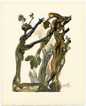 Gravure Sur Bois Dali - La Forêt des Suicidés. La Divine Comédie (L' Enfer, Chant 13)