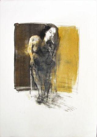 Lithographie Hohler - La Fumeuse