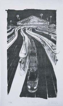 Lithographie Marrey - La Gare