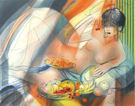 Lithographie Valadie - La Gourmandise