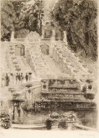 Gravure Lunois - La grande cascade de St Cloud