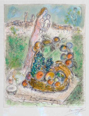 Lithographie Chagall - La Grande Corbeille