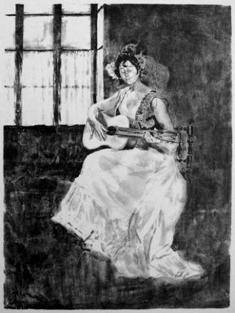 Lithographie Lunois - La guitarera / La guitariste