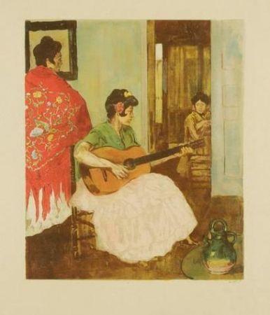 Lithographie Lunois - La guitariste / La guitarera