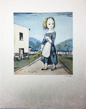 Lithographie Foujita - La jeune fille au pain (1963)