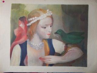 Lithographie Laurencin - La jeune fille et l'oiseau