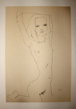 Lithographie Schiele - LA JEUNE FILLE NUE / THE NUDE YOUNG GIRL - Lithographie / Lithograph - 1910