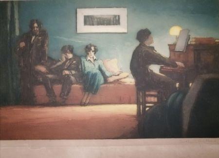 Aquatinte Guilbert - La leçon de piano