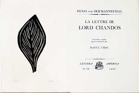 Livre Illustré Ubac - La Lettre De Lord Chandos