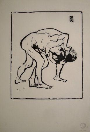 Gravure Sur Bois Giacometti - La Lotta I. – Ringende Knaben. – Diego und Alberto