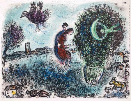 Lithographie Chagall - La lune dans le bouquet