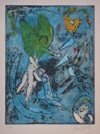 Lithographie Chagall - La Lutte De Jacob Et De L'ange