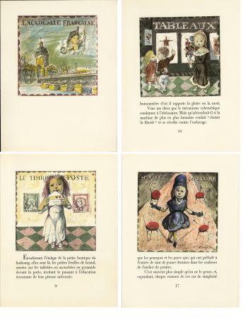Livre Illustré Foujita - LA MÉSANGÈRE (Jean Cocteau) 21 lithographies. 1963. Ex. de luxe avec soie signée et suite couleurs