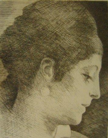 Gravure Marcoussis - La mère de l'artiste, jeune, de profil
