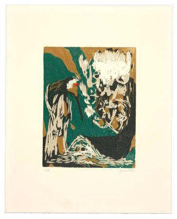 Gravure Sur Bois Jorn - La mère Ibis