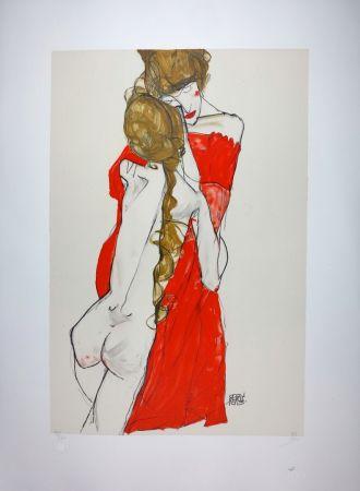 Lithographie Schiele - La Mère & la fille / Mother and Daughter - 1913