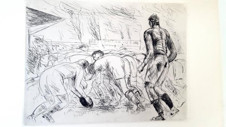 Lithographie De Segonzac - La Mêlée