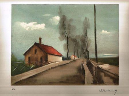Lithographie Vlaminck - La maison dans la plaine