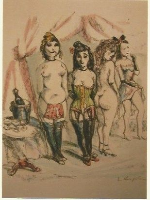 Gravure Foujita - La Mesangere (Four prostitutes)