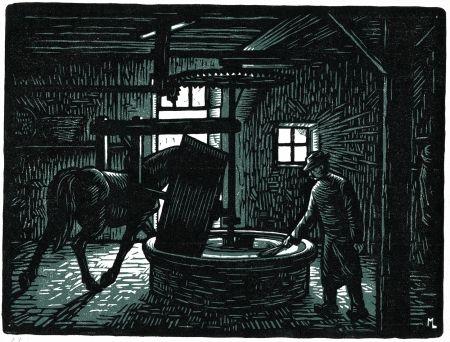 gravure sur bois de louis moreau la meule a ble corn millstone bretagne brittany france. Black Bedroom Furniture Sets. Home Design Ideas