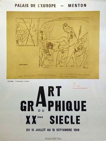 Affiche Picasso - '' La Minotaure Aveugle ''