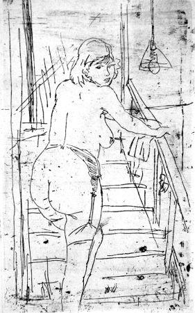 Eau-Forte Manfredi - La modella bionda sulla scale