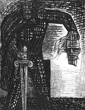 Eau-Forte Gromaire - La mort de Macbeth