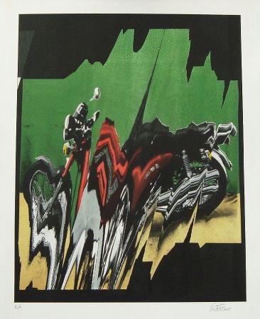 Lithographie Cesar - La moto éclatée