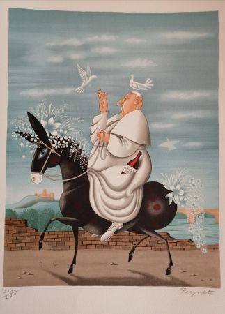 Lithographie Peynet - La Mule du Pape