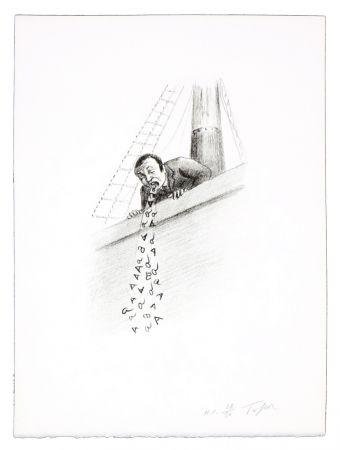 Linogravure Topor - La nausée