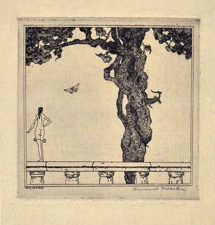 Eau-Forte Disertori - LA NINFETTA, 1913
