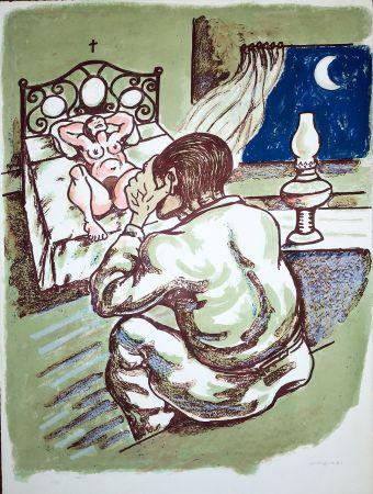 Lithographie Migneco - La notte