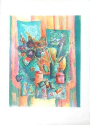 Lithographie Agostini  - La palette du peintre