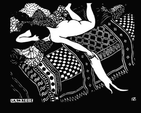 Gravure Sur Bois Vallotton - La paresse