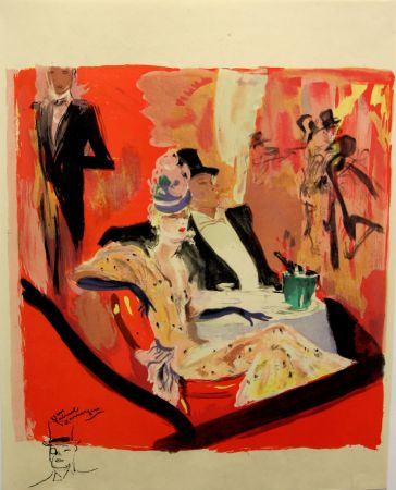 Lithographie Domergue - La  Parisienne - Chez Maxim's