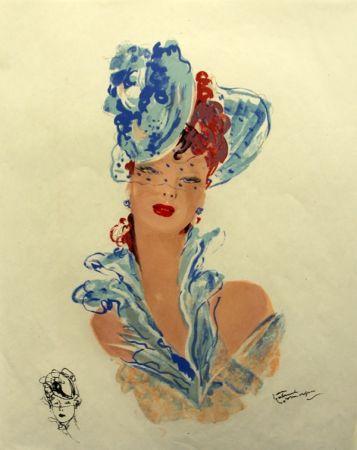 Lithographie Domergue - La  Parisienne Femme au Chapeau Bleu