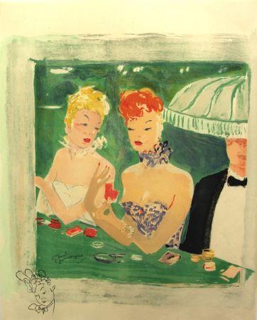 Lithographie Domergue - La Parisienne Femmes au Casino