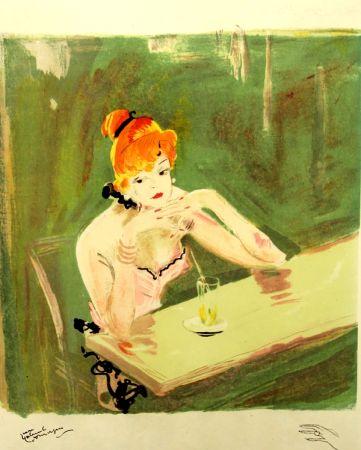 Lithographie Domergue - La  Parisienne  Mauricette Au Cafe Caumartin