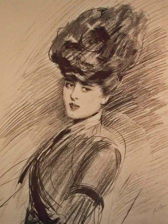 Lithographie Helleu - LA PARISIENNE WOMAN IN HAT
