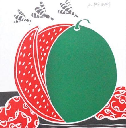 Lithographie Fassianos - La pastèque