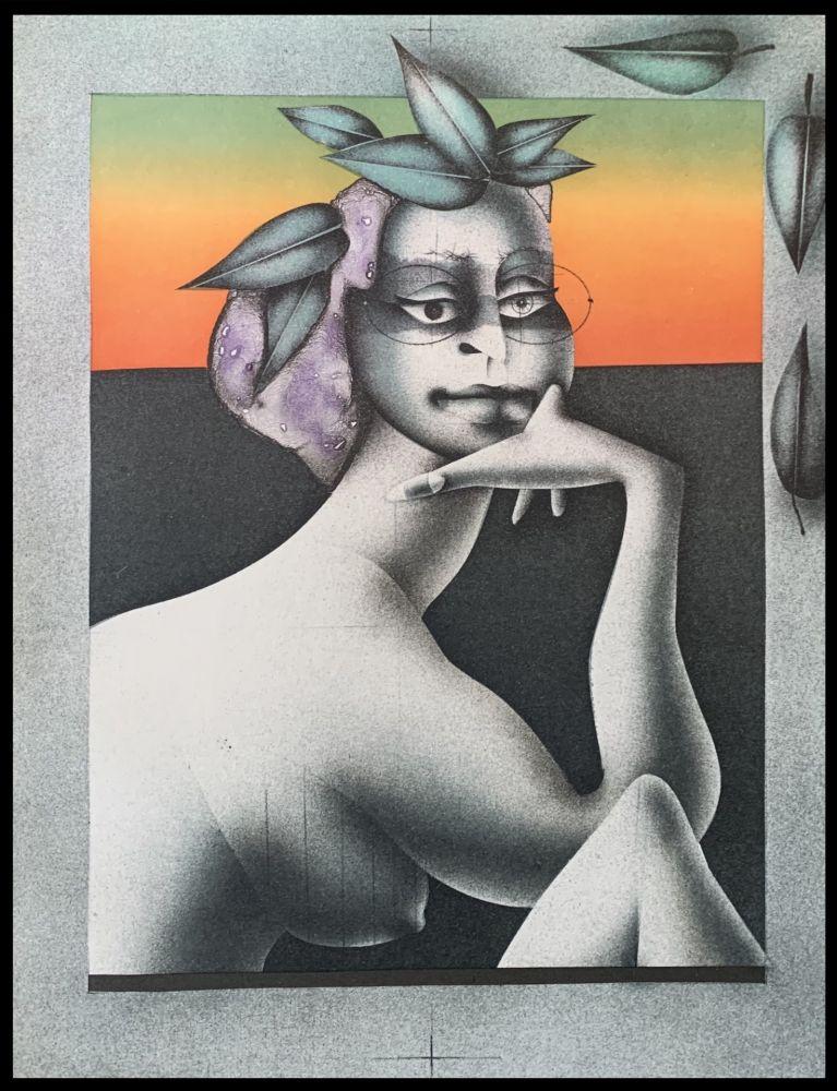 Lithographie Wunderlich - La penseuse du printemps
