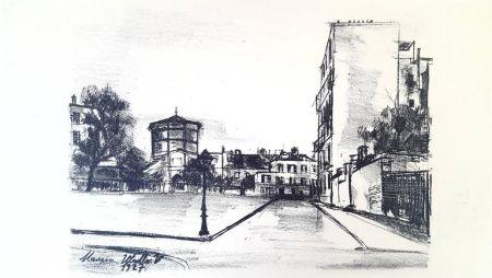 Lithographie Utrillo - La Place Ravignan, Montmartre