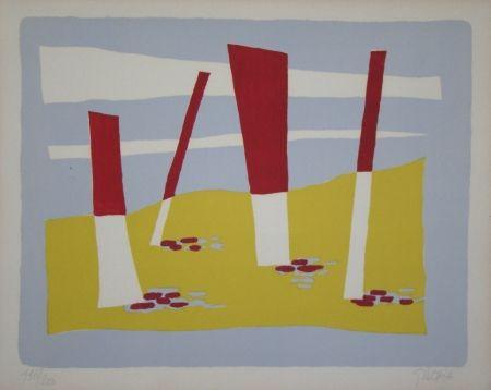 Lithographie Gischia - La Plage