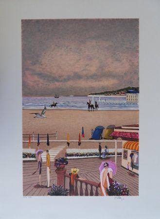 Lithographie Dilley - La plage de Deauville