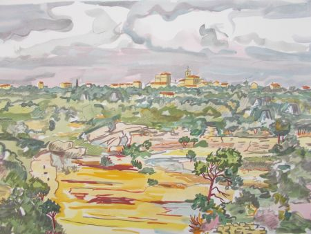 Lithographie Brayer - La Provence,le village